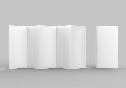 Accordion fold brochure, ten page leaflet, concertina fold. blank white 3d render illustration.