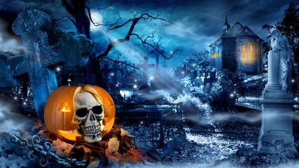 horror fearr pumpkin skull knight cross grave fence moonlight gloom holiday