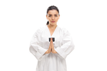 Female martial artist bowing