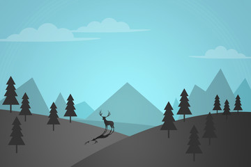flat design landscape background. landscape background with detail of forests, mountains, pines and reindeer deer in the nature for wallpaper. simple silhouette wallpaper background concept