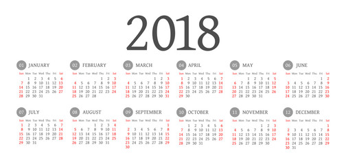 Vector Simple 2018 year calendar