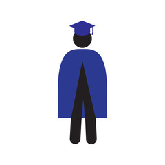 Man in graduation gown set silhouette icon