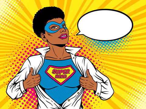 Female superhero. Young sexy afro american woman in mask with short hairstyle dressed in white jacket shows t-shirt with superhero text on the chest. Vector illustration in retro pop art comic style.