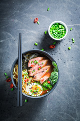 Delicious Ramen soup with chive and algae