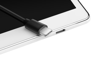 USB-c cable connector and smartphone, tablet with input