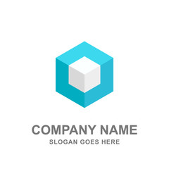 Cube Box Geometric 3D Logo Vector