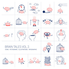 Brain tales volume 2, Vector concept illustrations set of brain in different funny situations | flat design linear icons set and infographic red and blue on white background