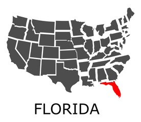 State of Florida on map of USA