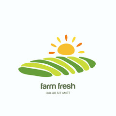 Farm and farming vector logo, label, emblem design template. Isolated illustration of green fields landscape, rising sun. Concept for agriculture, harvesting, natural farm, organic products.