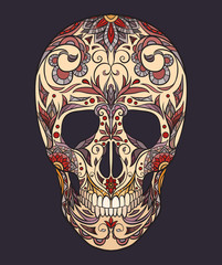 Color  illustration of a sugar skull. The holiday of the Day of the Dead. Vector element for your creativity