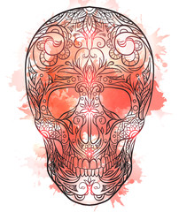 Contour  illustration of a sugar skull with watercolor splashes. The holiday of the Day of the DeadVector element for your creativity