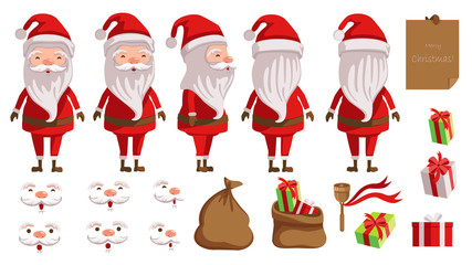 Santa Claus. creation set of Christmas concept. animated character. Icons with different types of faces and hats, emotions, front, rear, side view of male person. Vector illustrations Isolated