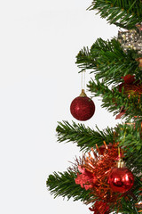 Decorated Christmas tree isolated on white background with copy space
