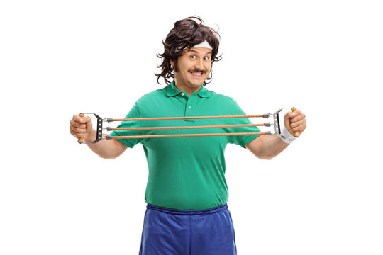 Retro guy exercising with a resistance band