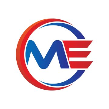 me logo vector modern initial swoosh circle blue and red