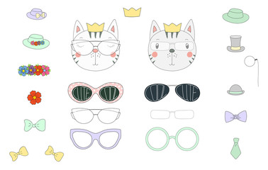 Hand drawn vector illustration of a cute funny cat heads with a set of different glasses, sunglasses, trendy hats and accessories.