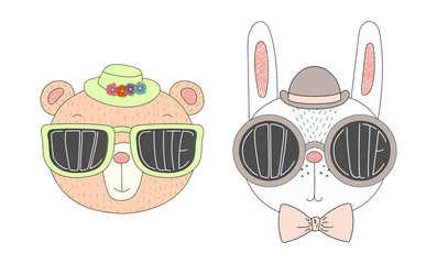 Hand drawn vector illustration of a funny bear and rabbit in hats and big sunglasses with words Cute and Cool written inside them.