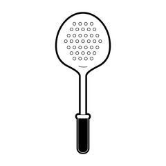 frying spoon utensil black silhouette