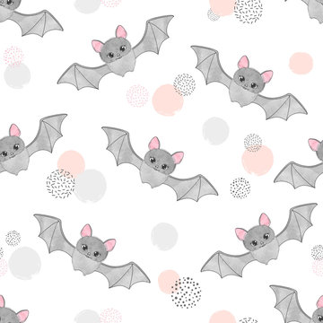 Cute watercolor flying bats pattern. Vector seamless background for kids.