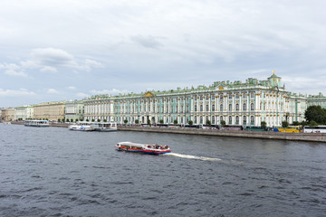 View of Palace embankment and the Hermitage Palace. The embankment of the Neva river , Saint Petersburg.