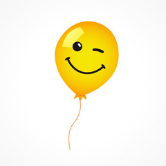 Winking smile of yellow helium balloon on white background. Yellow smile emoji balloon for happy birthday card or banner. Vector illustration