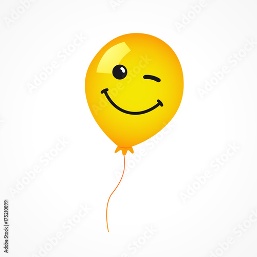 Winking Smile Of Yellow Helium Balloon On White Background Emoji For Happy