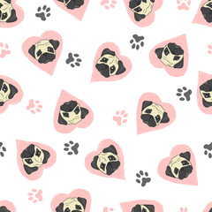 Seamless pattern with cute pugs and pink hearts. Vector background with dogs.