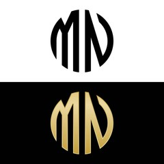 mn initial logo circle shape vector black and gold
