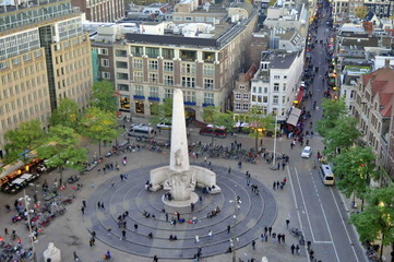 Aerial View of Dam Square in Amsterdam, Netherlands