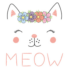 Hand drawn vector illustration of a funny cat girl face in a flower chain, with text Meow.