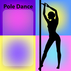 Silhouette of young dancing beautiful woman. Black vector silhouettes of female pole dancers performing pole moves