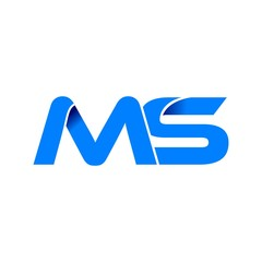 ms logo initial logo vector modern blue fold style