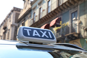 Taxi in the City of Catania. Sicily