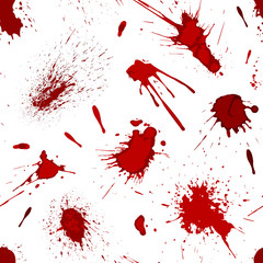 Red blood or paint splatters splash spot seamless pattern background vector illustration