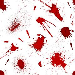Red blood or paint splatters splash spot seamless pattern background vector illustration