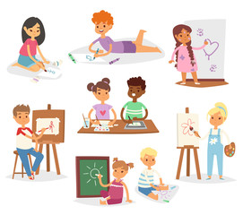 School kids children making art creative young artist with brushes and paint vector set cartoon characters collection