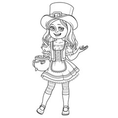 Cute girl  in leprechaun costume with a pot of gold outlined for coloring page