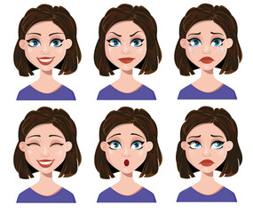 Facial expressions of a woman. Different female emotions set.