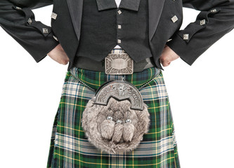 Man torso in traditional Scottish costume