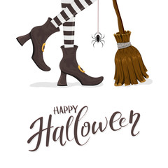 Text Happy Halloween with witches legs and broom