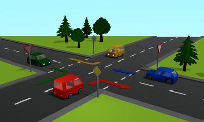 Straßenkreuzung mit den Schildern Vorfahrtsstraße und Vorfahrt gewähren sowie Richtungspfeilen