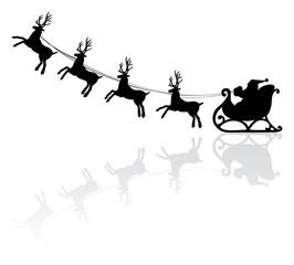 vector christmas illustration of santa and deers