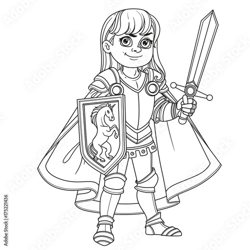 Cute Boy In Knight Or Paladin Armor Costume Outlined For Coloring Page
