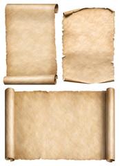 old scroll, parchment, papyrus realistic 3d illustration set