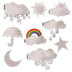 weather icon set created by grunge paper cut isolated on white