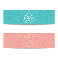 Search photos yoga banner template yoga banner template set of horizontal pink and turquoise flyers with chakra and mandala symbols stopboris Gallery