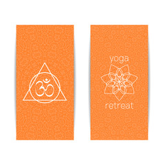 Yoga banner template. Set of vertical orange flyers with chakra and mandala symbols. Design for yoga banner, studio, spa, classes, poster, magazine, invitation, gift certificate and presentation.