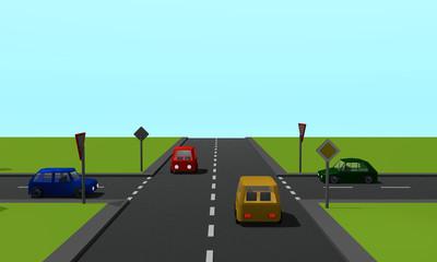 Straßenkreuzung mit den Schildern Vorfahrtsstraße und Vorfahrt gewähren