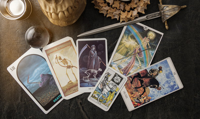 Tarot card / View of tarot card on the table.