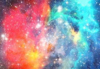 search photos watercolor galaxy painting